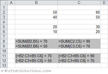 Excel Formula - Sum cells using array formula