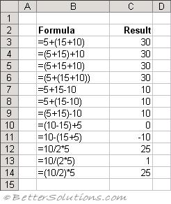 formulas of ms excel