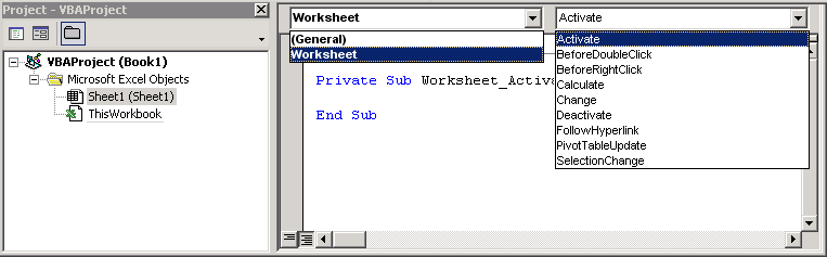 excel worksheet events