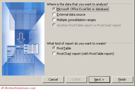 Excel Pivot Tables Pivot Table Wizard
