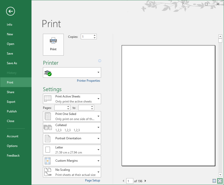 Excel Ribbon Print. A Preview Of The Workbook Is Display On Right Hand Side Screen. Worksheet. What Is Active Worksheet In Excel At Clickcart.co
