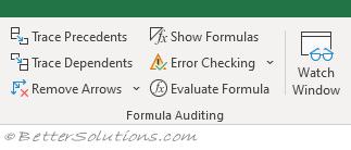 Excel Ribbon - Formulas Tab