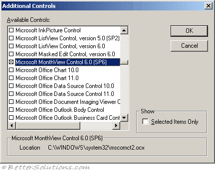 VBA Controls - MonthView