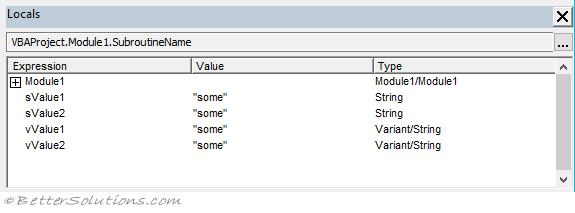 VBA Data Types - String-Variant