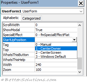 VBA Userforms - Positioning
