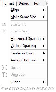 VBA Visual Basic Editor - Format
