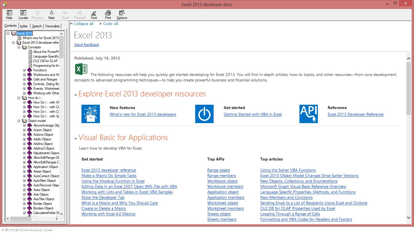 VBA Visual Basic Editor - Help Documentation