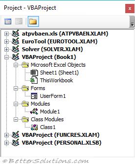 VBA Visual Basic Editor - Project Explorer