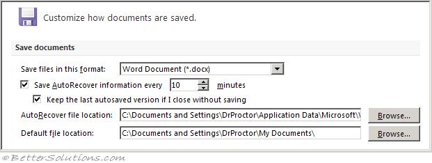 Word Options - Save