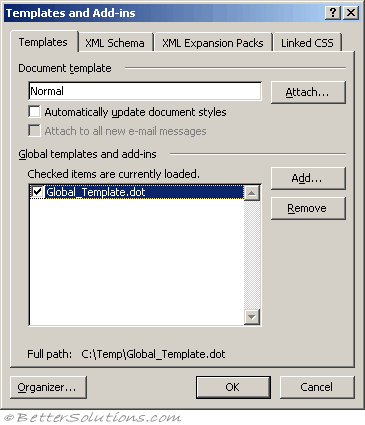 when you select an add in the folder location where the add in is stored is displayed at the bottom add lets you add a new global template to the list